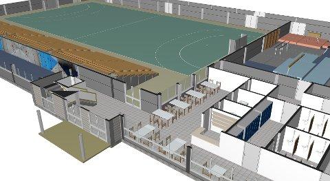 I løpet av 2019 håper eiendomssjefen å kunne igangsette arbeidet med å bygge den mye omdiskuterte og lenge etterlengtede Slattumhallen (Illustrasjon fra arkivet).