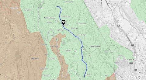 BLÅSTREK:Kart som viser den planlagte turveien mellom Burås og Lilloseter.