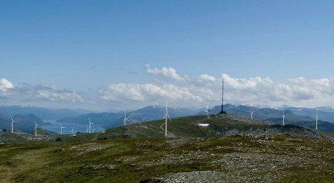 Bremangerlandet Vindpark- med utsikt austover mot Nordfjord. ILLUSTRASJON: SFE