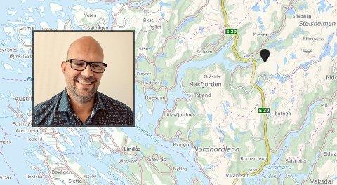 Pila på kartet viser Kvernhusdalen, i nærleiken av der ulykka skjedde. Jan Kåre Austrheim er kommunikasjonssjef i BKK.