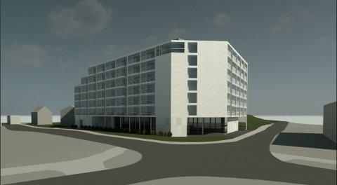 Slik vil det nye boligprosjektet se ut. I første etasje vil det være dagligvarebutikk. Illustrasjon: Unikus