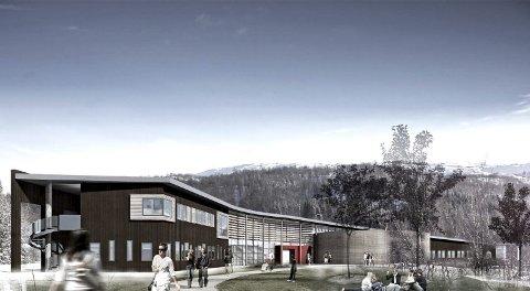 Drømmen: Slik så de for seg at Sjunkhatten folkehøgskole kunne bli seende ut: Plasseringen er midt  i Sjunkhatten nasjonalpark og ved Valnesfjord Helsesportsenter. Illustrasjon: Fauske kommune