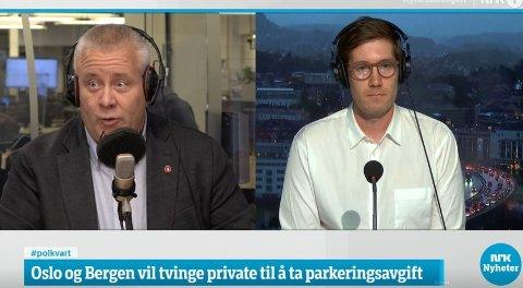 Frps stortingsrepresentant Bård Hoksrud (t.v) barket sammen med byråd for klima, miljø og byutvikling i Bergen, Thor Haakon Bakke (MDG), i Politisk kvarter på NRK tirsdag morgen.