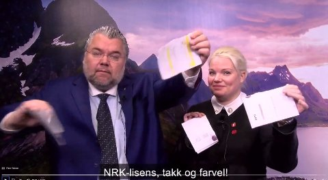 FJERNET: Frps stortingsrepresentanter Morten Wold og Silje Hjemdal stilte opp i en video om lisensordningen torsdag. Den er nå fjernet.