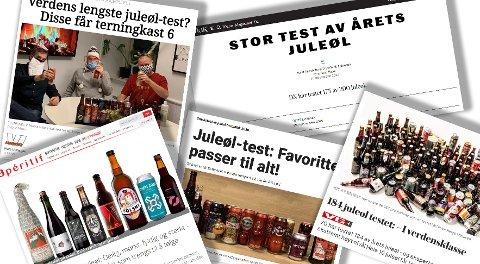 ØLTESTENE: Flere nettsteder og aviser har testet juleøl. Ølet fra Drammen kommer godt ut i flere av dem. Faksimiler.