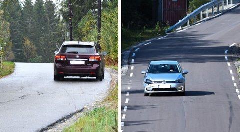 To ganger har Sulerudveien blitt oppgradert de siste årene. Den første delen (til venstre) fikk en oppgradering i 2014, men ble ikke utvidet. Den innerste delen fikk både asfalt og ble kraftig utvidet i fjor.