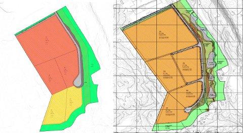 N4 Invest AS har gjennomført en del endringer i reguleringsplanen Gran NY4 syd.Gammelt plankart til venstre, og gjeldende plankart etter endringene til høyre.
