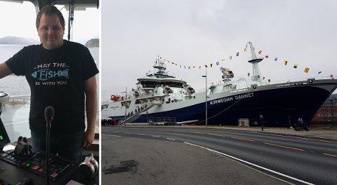 STOR JOBB OG STOR BÅT: Håkon André Hatlem(26) er skipper på slaktebåten Norwegian Gannet. Trass i ung alder har han allereie lang fartstid i bransjen.