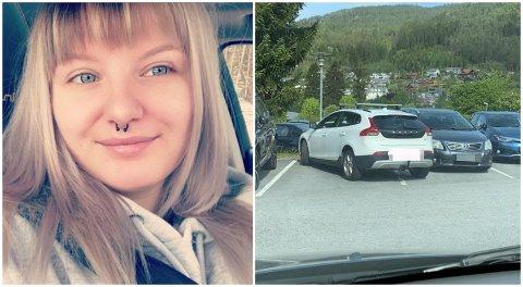 REAGERER: Viktoria Gauksrud klør seg i hovudet av denne parkeringa.