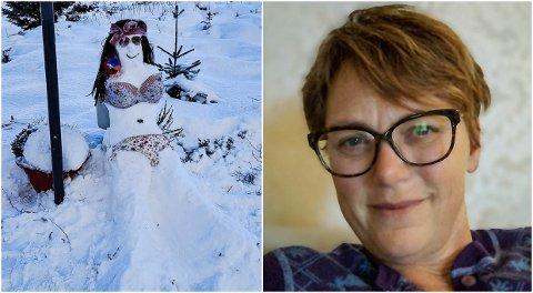 KREATIVT: Då grenda Melvær endeleg fekk snø var Reidun Melvær Norheim snar å kome seg ut. Søndag dukka denne spenstige snødama opp i grenda.