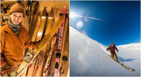SKIGAL MANN: Torje Bjellaas lagar sine eigne treski – og svingar seg ned pudderlagde fjellsider på dei.