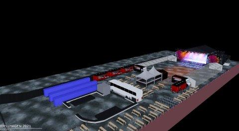 Slik skal det etter planen se ut når Idyllhagen inntar Dampskipsbrygga mellom 9. juli og 15 . august.