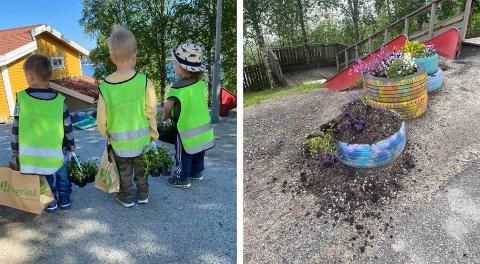 Barna vær selv med på å pynte i barnehagen sin. Bildet til høyre var synet som møtte dem mandag.