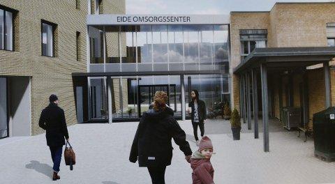 Eide omsorgssenter: Inngangspartiet til det nye omsorgssenteret. Eksisterende bygg til høyre.illustrasjonsfoto: HRTB Arkitekter