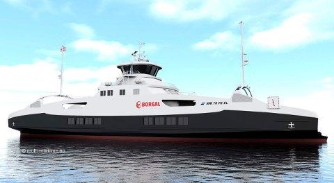 Boreal har tinga ny batteriferie som skal setjast inn på ferjesambandet Kvanndal-Utne i Hardangerfjorden frå 2020. Illustrasjon: Multi Maritime
