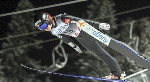 I FORM: Eirin Maria Kvandal hoppet langt i dagens renn, men falt dessverre etter landing.