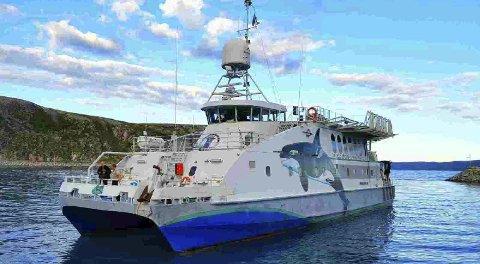 Miljøskipet: M/S Miljødronningen i Dyfjord etter inspeksjon på oppdrettsanlegget i Mårøyfjord. begge foto: Fritz-Otto Johansen