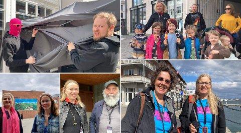 Det var yrende folkeliv i Harstad torsdag. Her er noen av de blide fjesene vi møtte på.