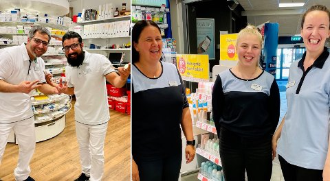 Ioana Flore og staben på Apotek1 og Adnan Naseen og Junaid Latif på Vitusapotek i Harstad.