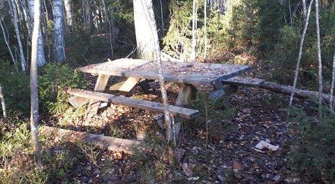 UGANG: Benkebordet på Parktoppen var dratt bort fra plassen ved varmen og inn i krattet.