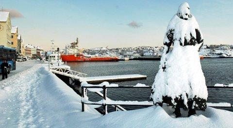 Klippfiskkjerringa var dekket av snø da dette bildet ble tatt vinteren 2007.