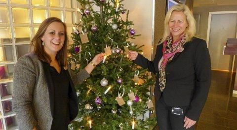 Samler inn: Det ensomme juletreet står som vanlig på Hotel Grand i Kongsberg. Kristine Johnsen (t.v.) og Janne Johansen oppfordrer folk til å gi.  FOTO: IRENE MJØSENG