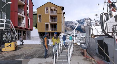 Stor utbygging: Planene på kaia går over tre bygg med tre leiligheter i hver - og en felles base under.