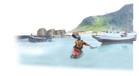 Ramberg turisthavn slik prosjektet Fremtidens Fiskevær illustrerte framtidas muligheter.