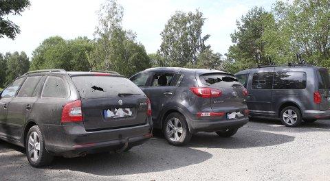 Slik så bilene på grusplassen i Dueveien ut etter nattens villmannskjøring. SVEIP TIL HØYRE FOR Å SE FLERE BILDER