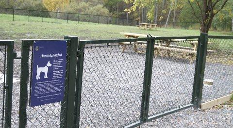 NY: Den nye hundeparken på Hallagerjordet ble ferdig tidligere i høst, men det har vært svært fuktig på det inngjerdede området.