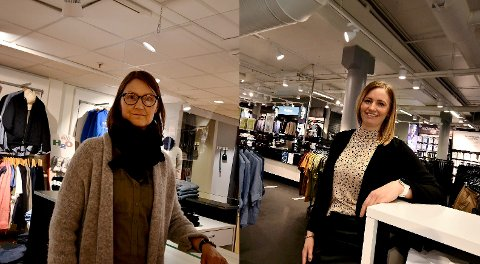 Siw Bagås Lien og Marthe Berge Gjul driver hver sin klesbutikk på Amfi Otta. De forteller at det er krevende tider i bransjen.