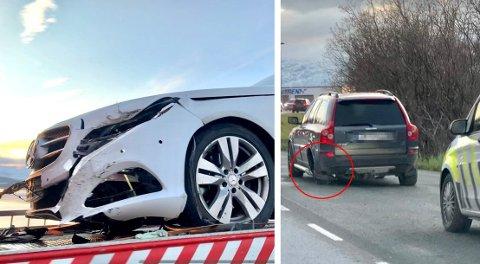 Et bakdekk på den ene bilen løsnet og traff en annen bil i fronten på Sandnessundbrua. Foto: Stian Saur