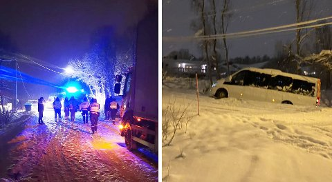 Flere trafikkulykker i Tromsø. Til venstre er et bilde fra front-kollisjonen på Nordspissen, til høyre et bilde av en maxitaxi i grøfta ved Sorgenfri. Foto: Nordlys-tipsere