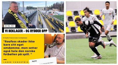 STORM I VANNGLASS?: I fotballpodkasten Toppfotball får Raufoss sitt pass påskrevet, men styreleder Asgeir Sveen gjør det klart at Raufoss ikke er ute etter å utfordre regler og klubben skal sikre at rutiner følges.