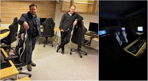HAR STÅTT PÅ: Martin Grønbekk Moen (t.v.) og Tor Erik Hagen i styret i Elverum E-sport har mange kvelder bak seg i klubbens nye lokaler. Her har de satt opp 13 spill-stasjoner, laget en lounge og sørget for at det meste står klart til å ta imot gamere i alle aldre. – Foreløpig har vi tre PC'er, men målet er å få enda mer på plass etter hvert, sier de to.