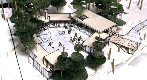 Flere mindre bygninger tenkes samlet rundt et åpent område.