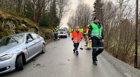 NAKKESMERTER: En person klagde over nakkesmerter etter kollisjonen i Bjønnesvegen
