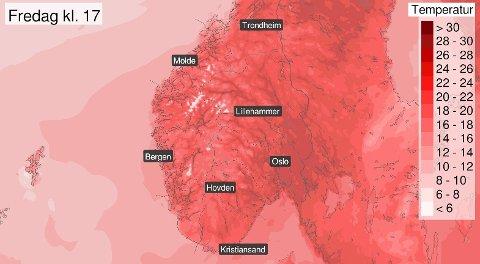 VARMT! Temperaturene er ventet å stige jevnt og trutt de neste dagene.