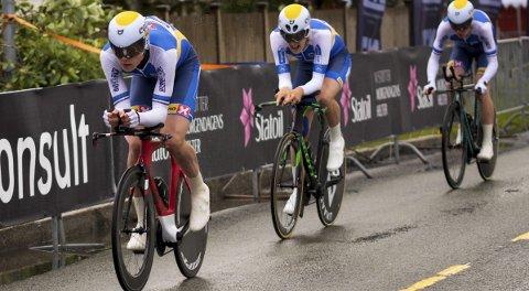 Langt foran: Andreas Leknesund, Søren Wærenskjold og André Heggø ga Ringerike Sykkelklubb et overlegent NM-gull på tempo.