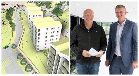 SAMARBEIDER: Hjalmar Sørgård og Tord Moe Laeskogen på Sundvolden Hotel samarbeider om boligprosjektet.