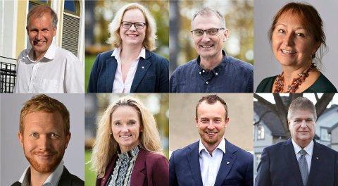 Øverst fra venstre: Ny fylkesordfører Terje Riis Johansen (Sp), Liselotte Aune Lee (Ap), Harald Moskvil (Mdg), Gunn Marit Helgesen (H), Ådne Naper (Sv), Ellen Eriksen (Frp), Sven Tore Løkslid (Ap) og Kåre Pettersen (V). Foto. Vestfold fylkeskommune og Telemark fylkeskommune