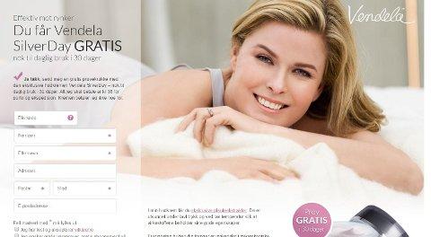 KRITISK OMBUD: Forbrukerombudet mener denne reklamen er forbudt. Bildet er en skjermdump fra vendela.com.