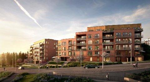 TO BLOKKER: Slik er boligblokkene i «Tribunen» tenkt utformet. Ill.: Spor Arkitekter/Selvaag