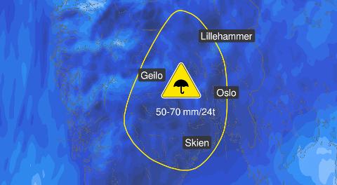 REGNTUNGT: Søndag kommer et nytt lavtrykk over Romerike, og det er ventet minst 50 mm regn.