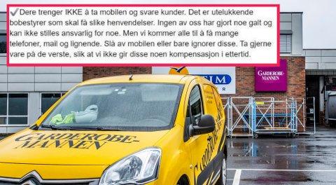 SENDTE MELDING: Denne meldingen var blant det Erik Bøckmann sendte til flere ansatte nylig. Dette er klippet ut fra en lengre melding om hvordan de ansatte skulle opptre nå.