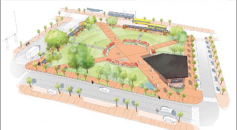 Slik skal Landmannstorget bygges om til nytt kollektivknutepunkt og en grønn park. ILLUSTRASJON: DRONNINGA LANDSKAP