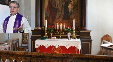 Sklidd ut: Mobilbruk under begravelser er noe som har sklidd ut, mener prest Just Salvesen. Her fra Hedenstad kirke. Foto: Jenny Ulstein.