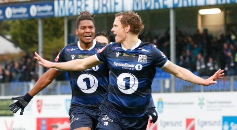 Her jubler Meinhard Egilsson Olsen etter scoring i sluttminuttene i eliteseriekampen i fotball mellom KBK og Tromsø på Kristiansund Stadion. Nå er 23-åringen klar for svensk fotball.