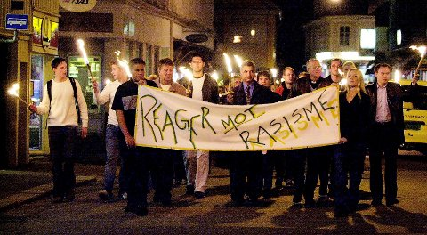 NEI: Bildet er fra en tidligere demonstrasjon mot rasisme i Tønsberg.