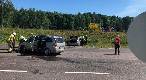 Det smalt ved avkjøringen til Skoppum. Foto: Trude Brænne Larssen